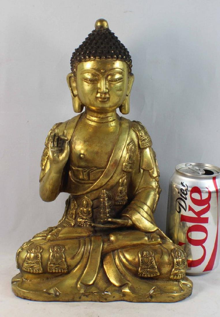 Chinese Bronze Gilt Buddha w,Marked - 2