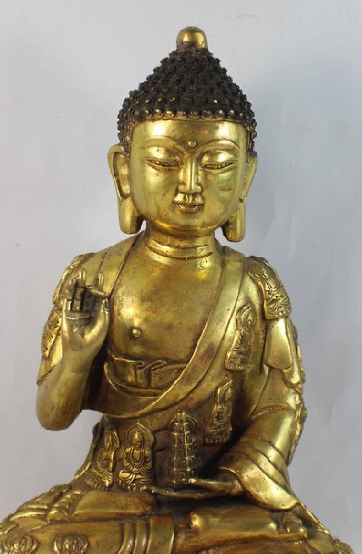 Chinese Bronze Gilt Buddha w,Marked - 3