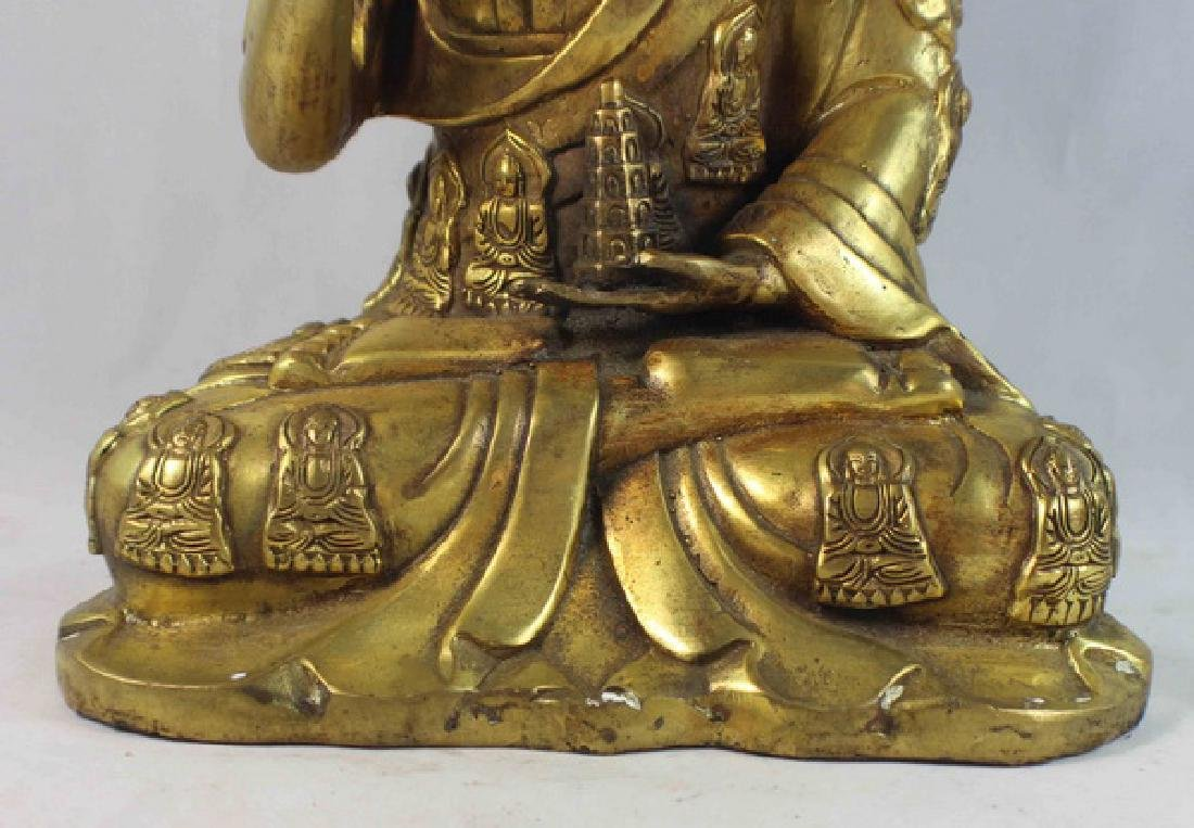 Chinese Bronze Gilt Buddha w,Marked - 4