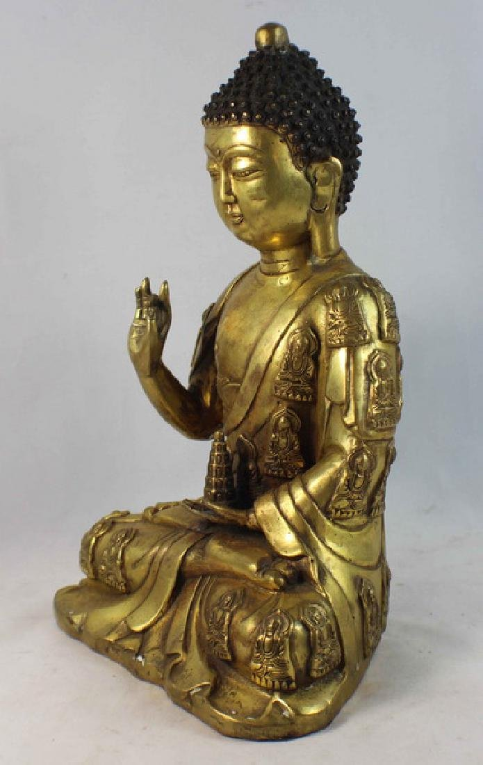 Chinese Bronze Gilt Buddha w,Marked - 5