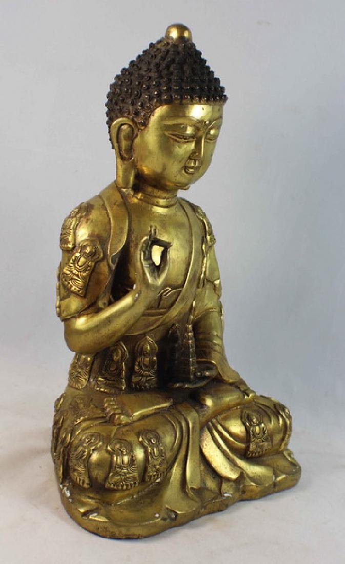 Chinese Bronze Gilt Buddha w,Marked - 6