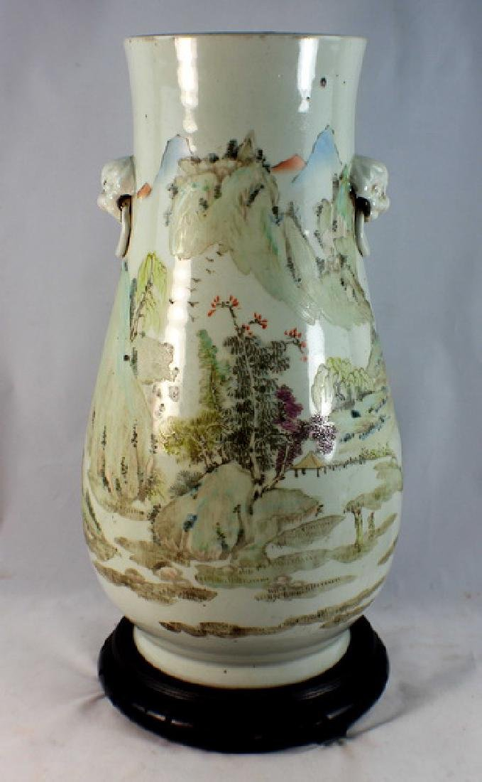 Large Chinese Porcelain Vase w,Wood Base