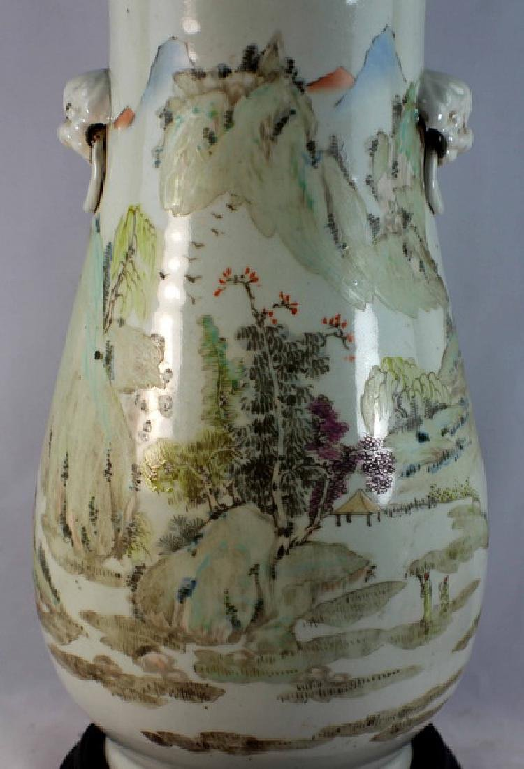 Large Chinese Porcelain Vase w,Wood Base - 2