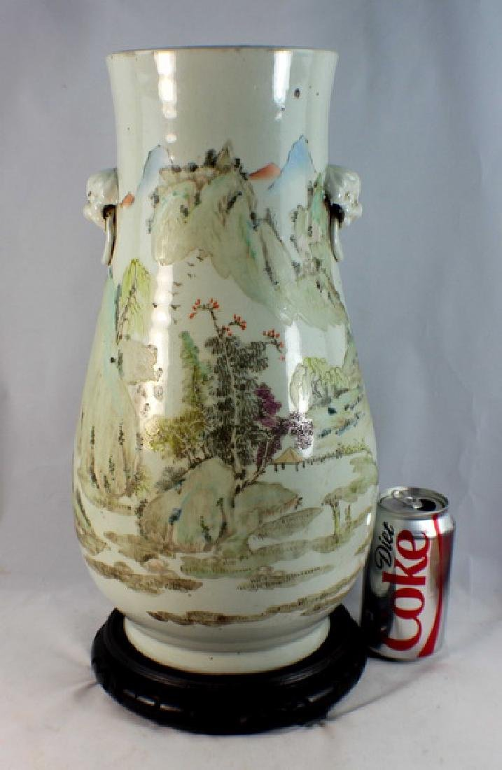 Large Chinese Porcelain Vase w,Wood Base - 3
