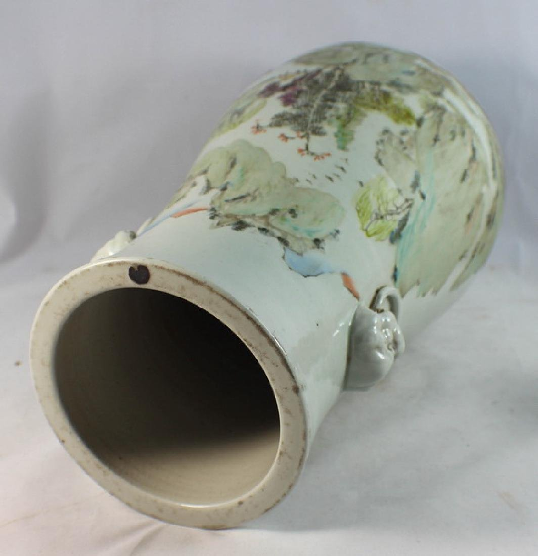 Large Chinese Porcelain Vase w,Wood Base - 9