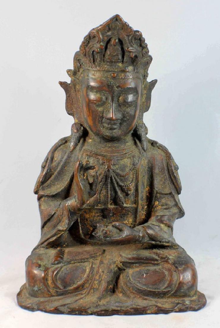 Chinese Bronze Gilt Buddha w,Marked