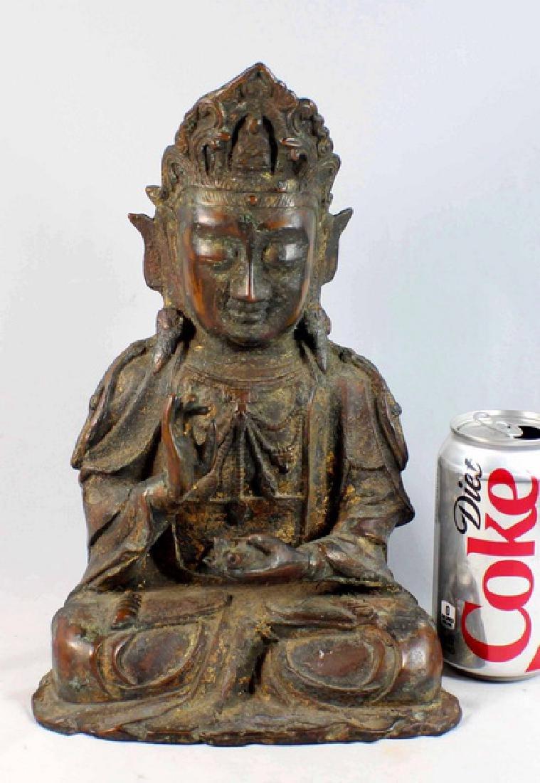 Chinese Bronze Gilt Buddha w,Marked - 2