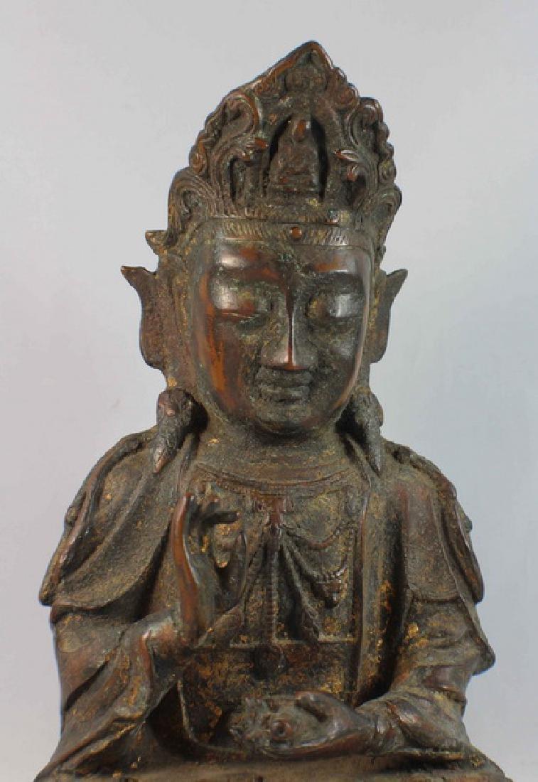 Chinese Bronze Gilt Buddha w,Marked - 3