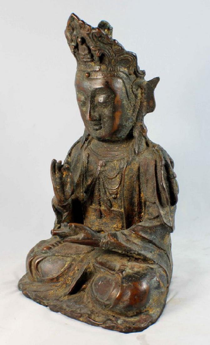 Chinese Bronze Gilt Buddha w,Marked - 4