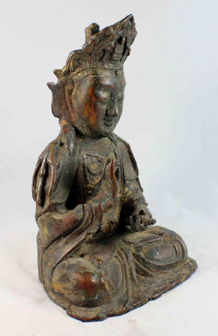 Chinese Bronze Gilt Buddha w,Marked - 5
