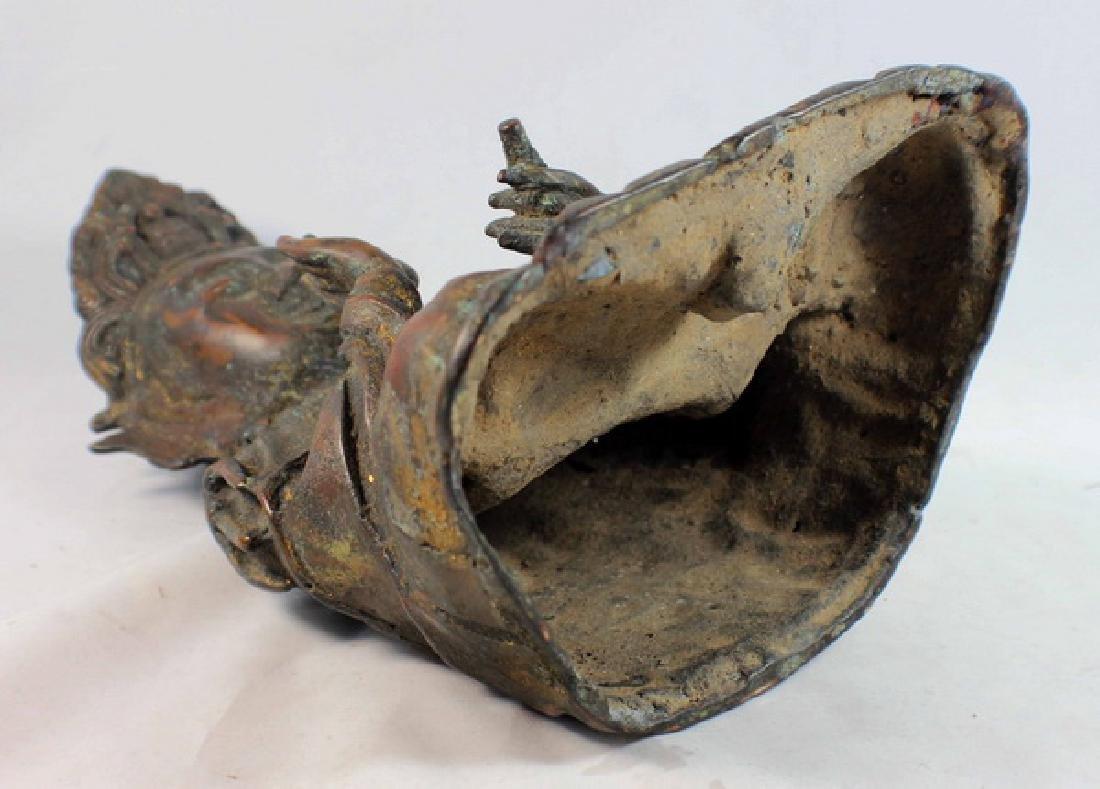 Chinese Bronze Gilt Buddha w,Marked - 9
