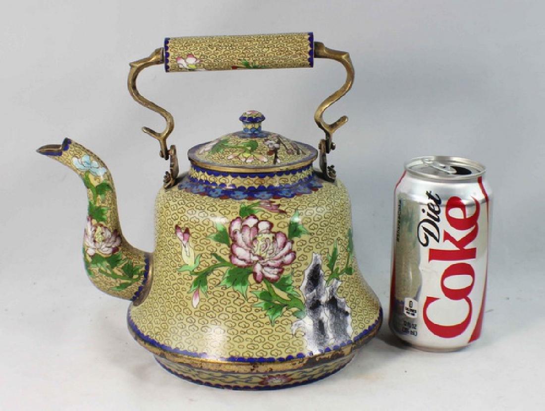 Chinese Cloisonne Enamel Teapot - 2