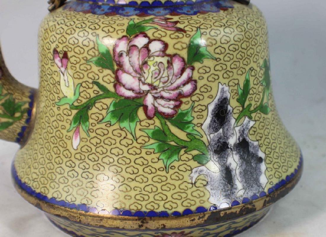 Chinese Cloisonne Enamel Teapot - 3