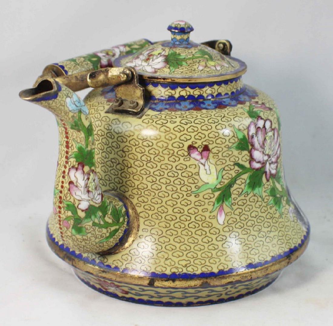 Chinese Cloisonne Enamel Teapot - 4