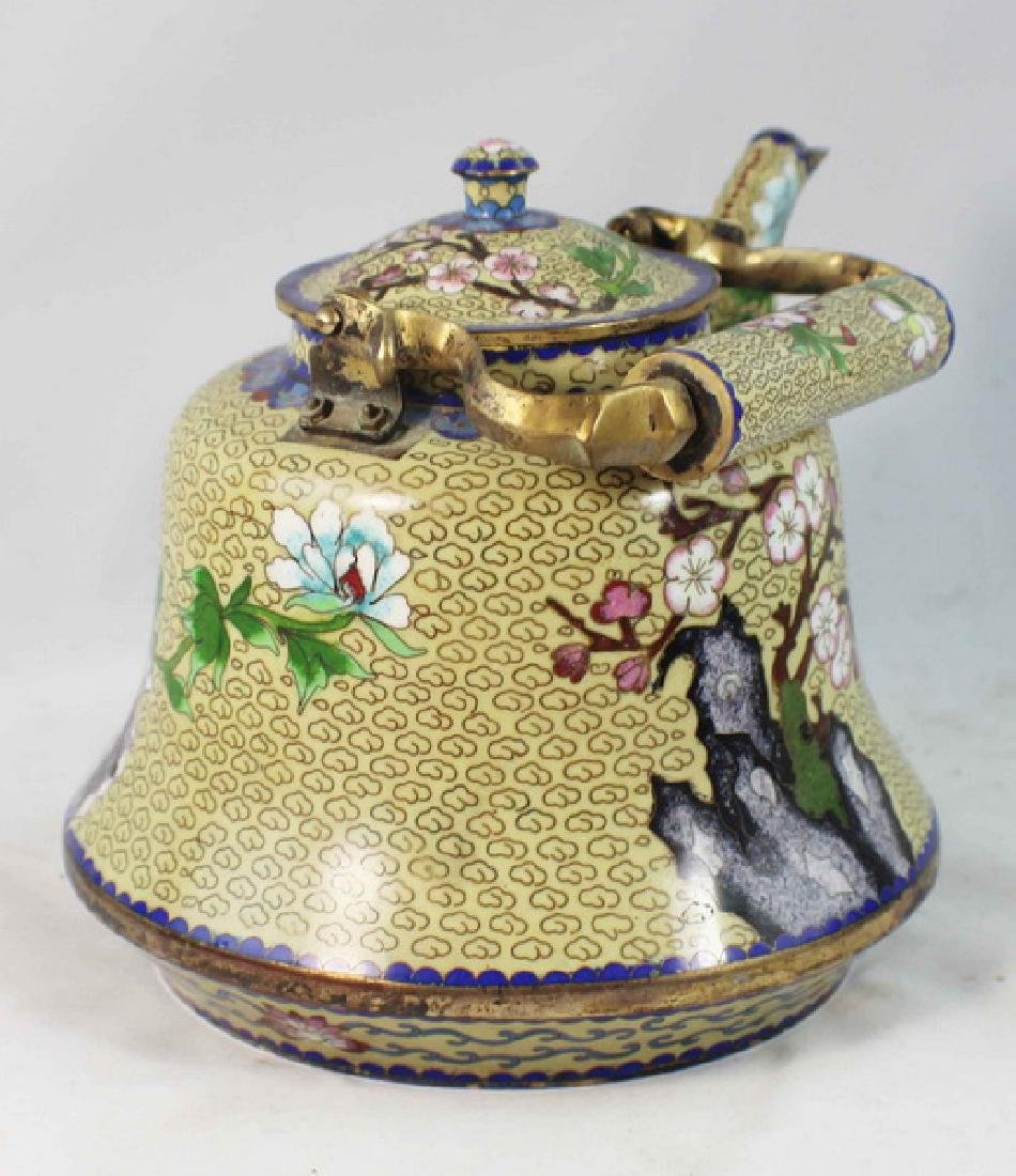 Chinese Cloisonne Enamel Teapot - 6