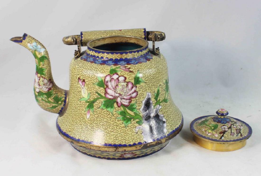 Chinese Cloisonne Enamel Teapot - 7