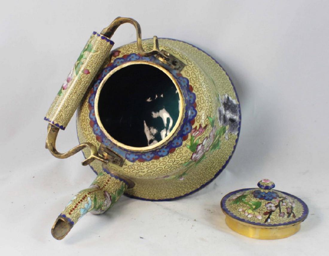 Chinese Cloisonne Enamel Teapot - 8