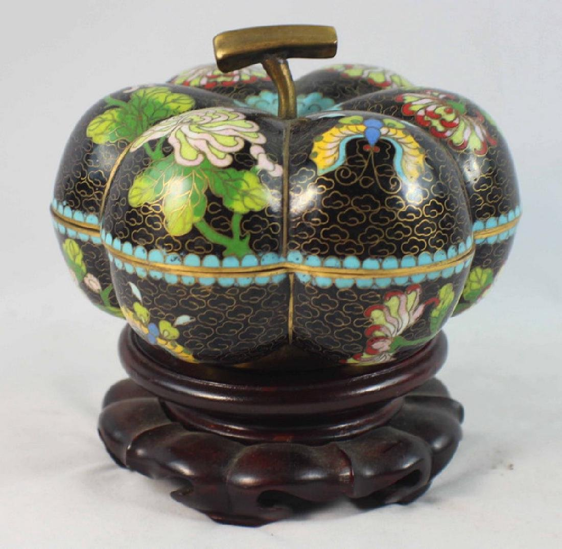 Chinese Cloisonne Enamel Box w,Wood Base