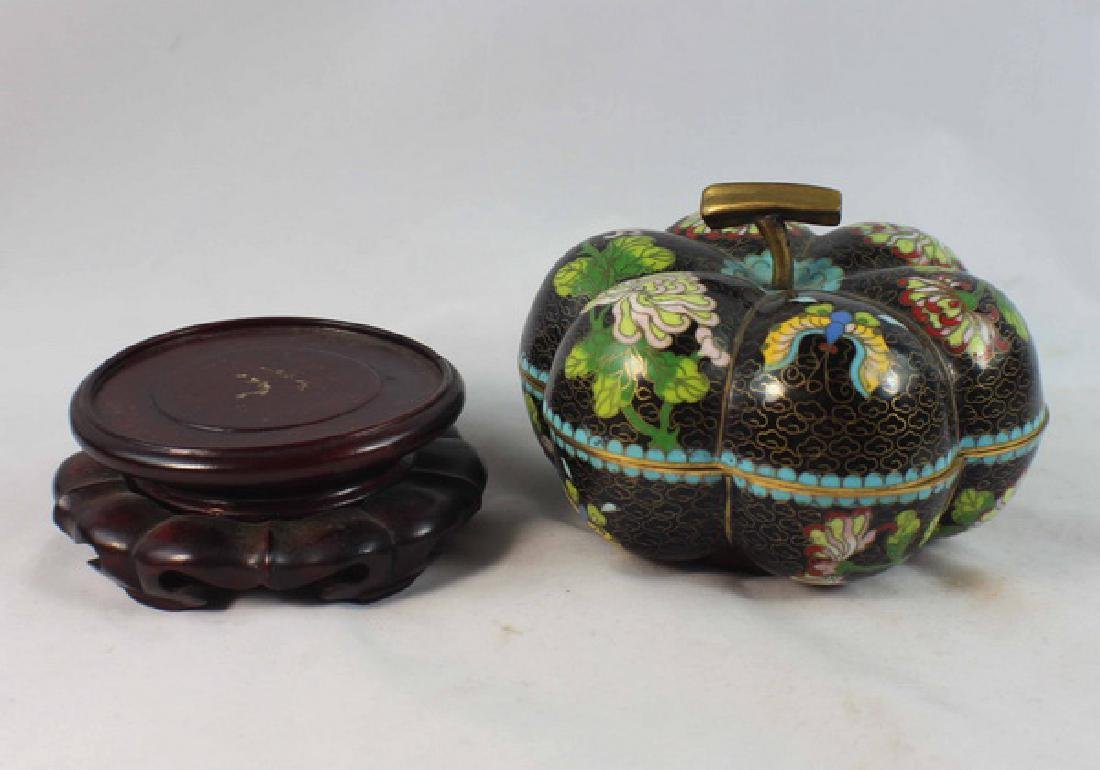 Chinese Cloisonne Enamel Box w,Wood Base - 3