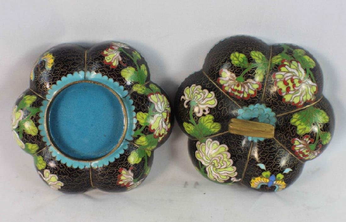 Chinese Cloisonne Enamel Box w,Wood Base - 5