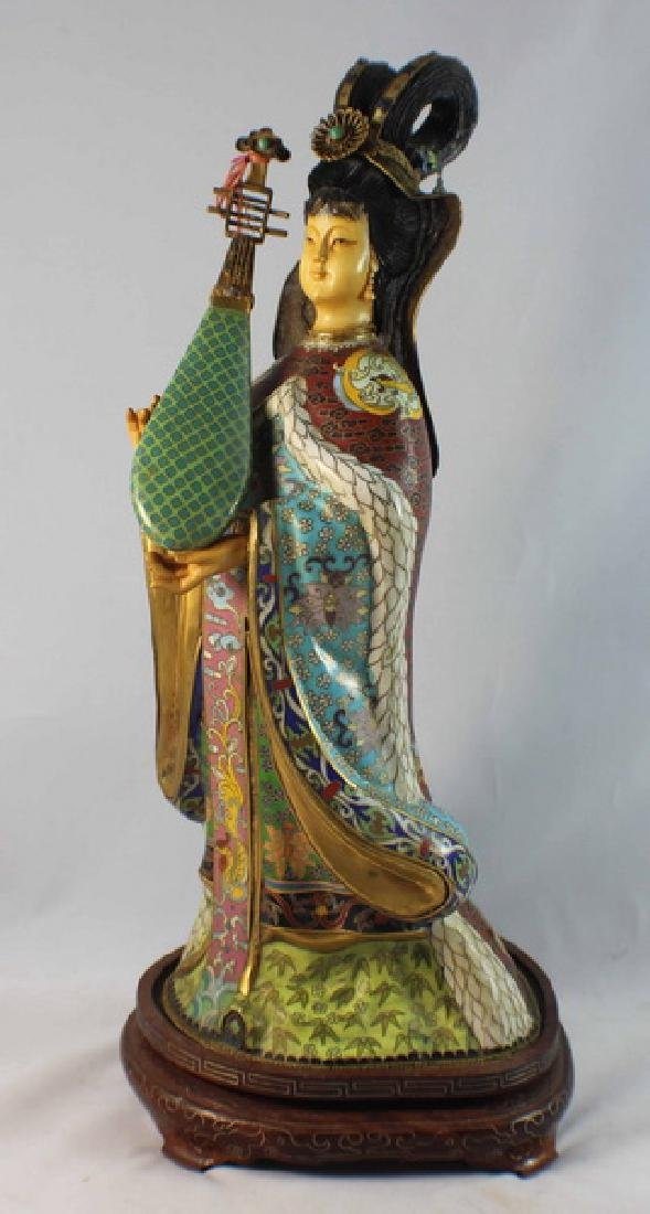 Large Chinese Cloisonne Enamel Figure w,Wood Stand