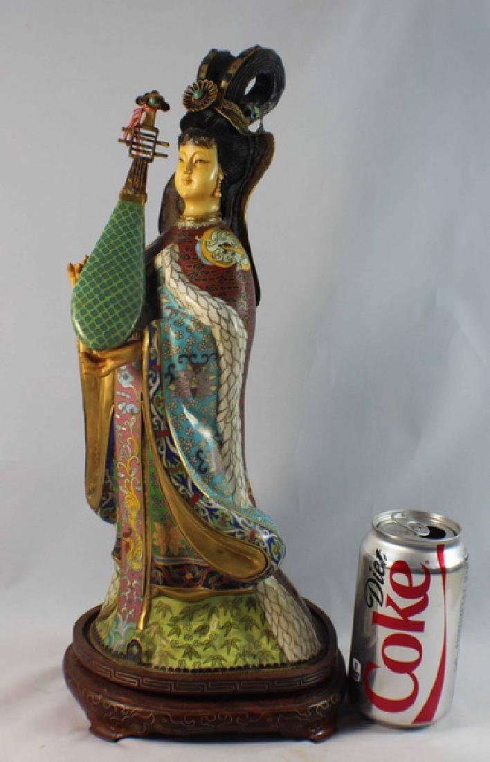 Large Chinese Cloisonne Enamel Figure w,Wood Stand - 2