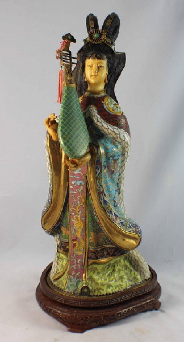 Large Chinese Cloisonne Enamel Figure w,Wood Stand - 3