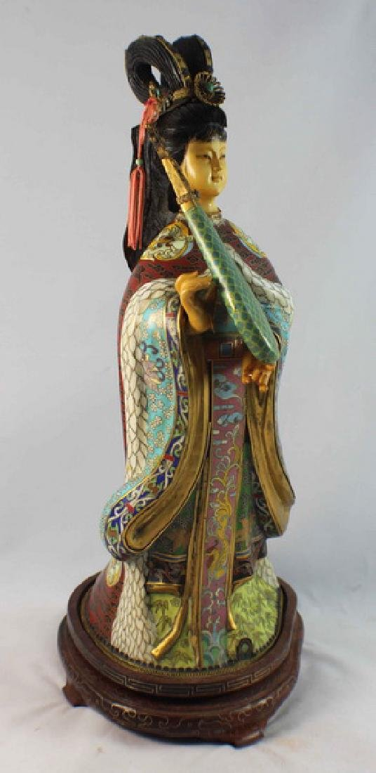 Large Chinese Cloisonne Enamel Figure w,Wood Stand - 5