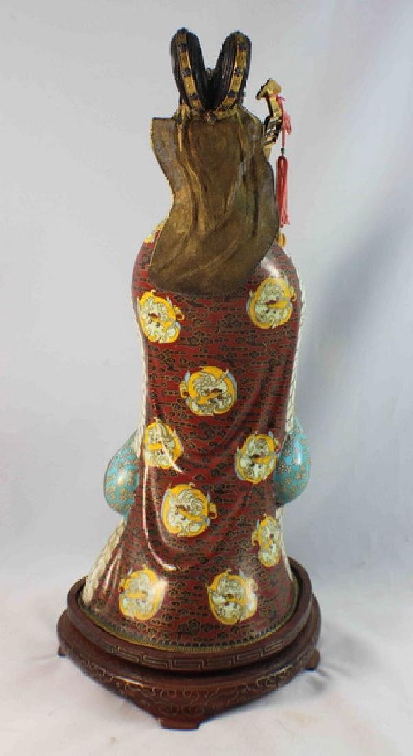 Large Chinese Cloisonne Enamel Figure w,Wood Stand - 6