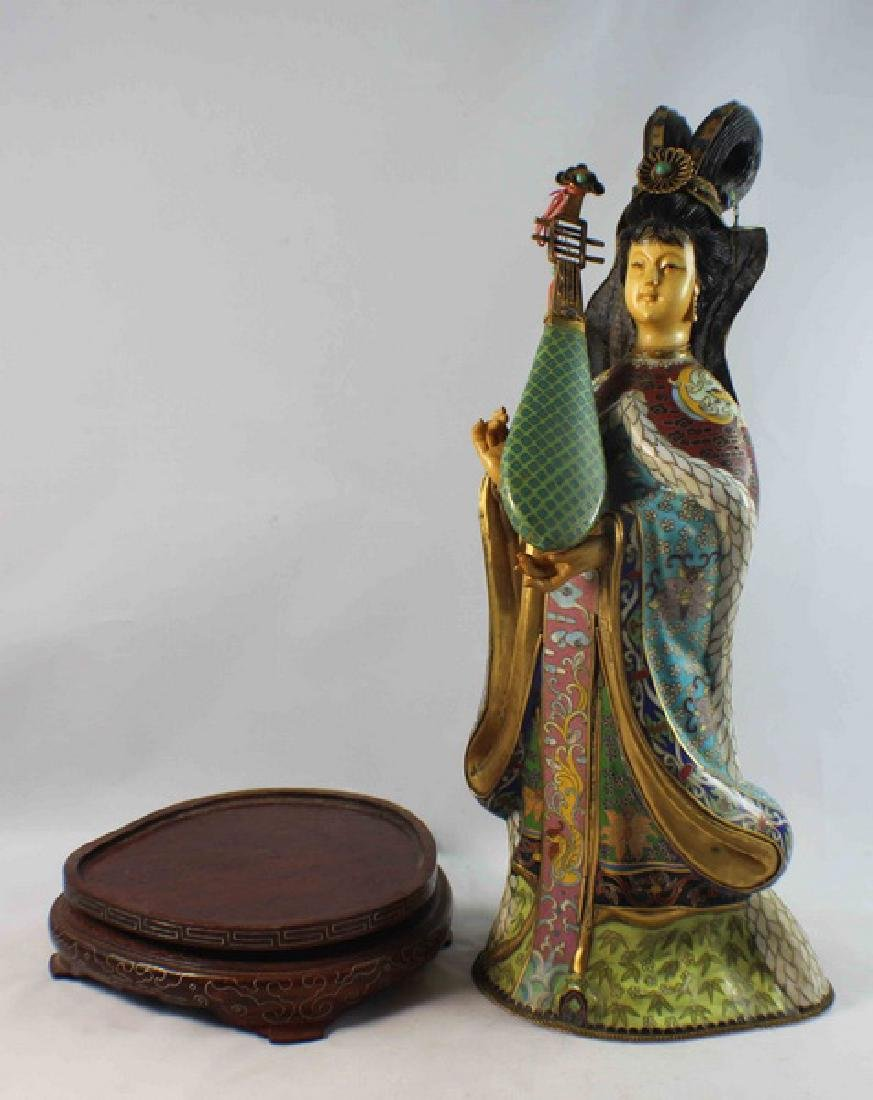 Large Chinese Cloisonne Enamel Figure w,Wood Stand - 8