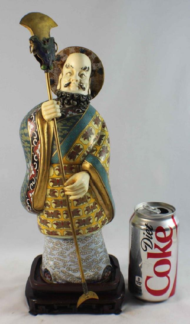 Large Chinese Cloisonne Enamel Figure w,Wood Stand - 4