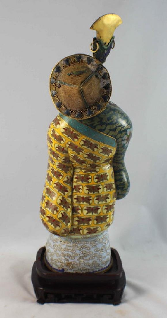 Large Chinese Cloisonne Enamel Figure w,Wood Stand - 7