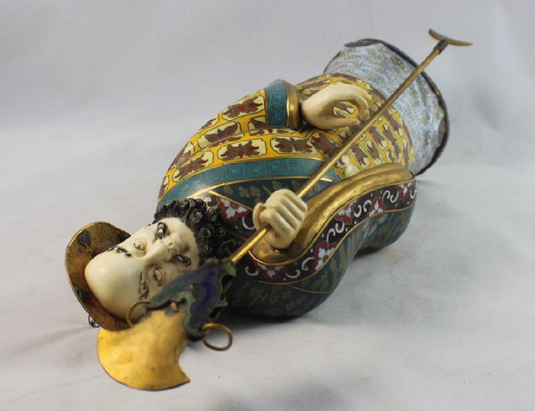 Large Chinese Cloisonne Enamel Figure w,Wood Stand - 9