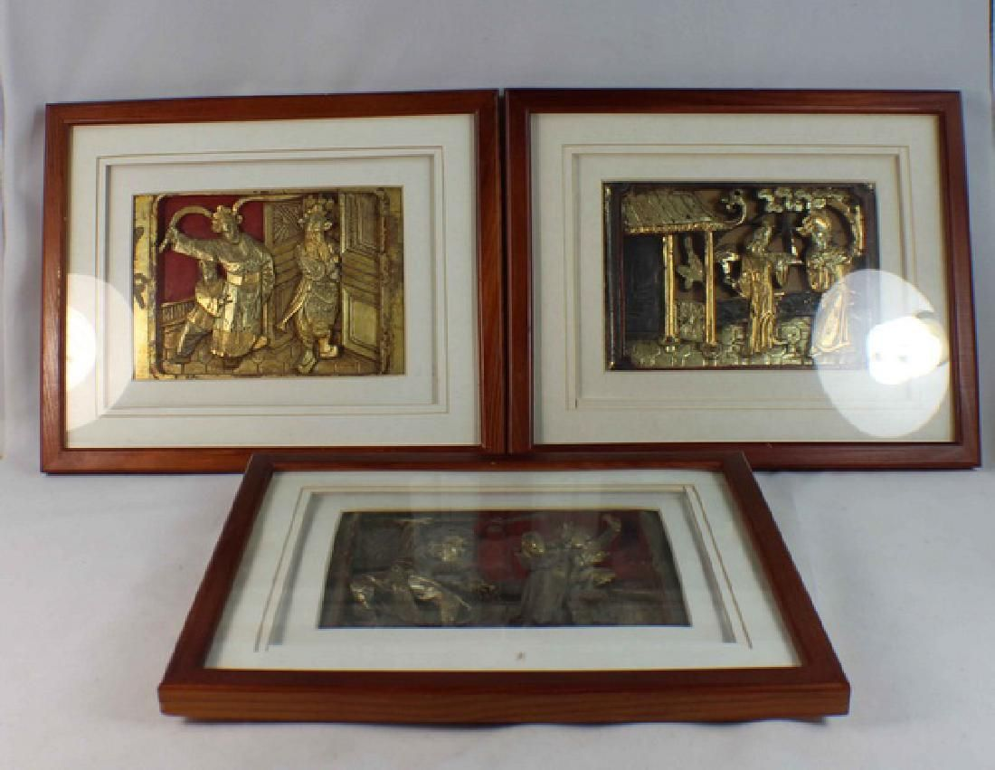 Lot Of 3 Chinese Carved Wood Hanging Screens w,Frame