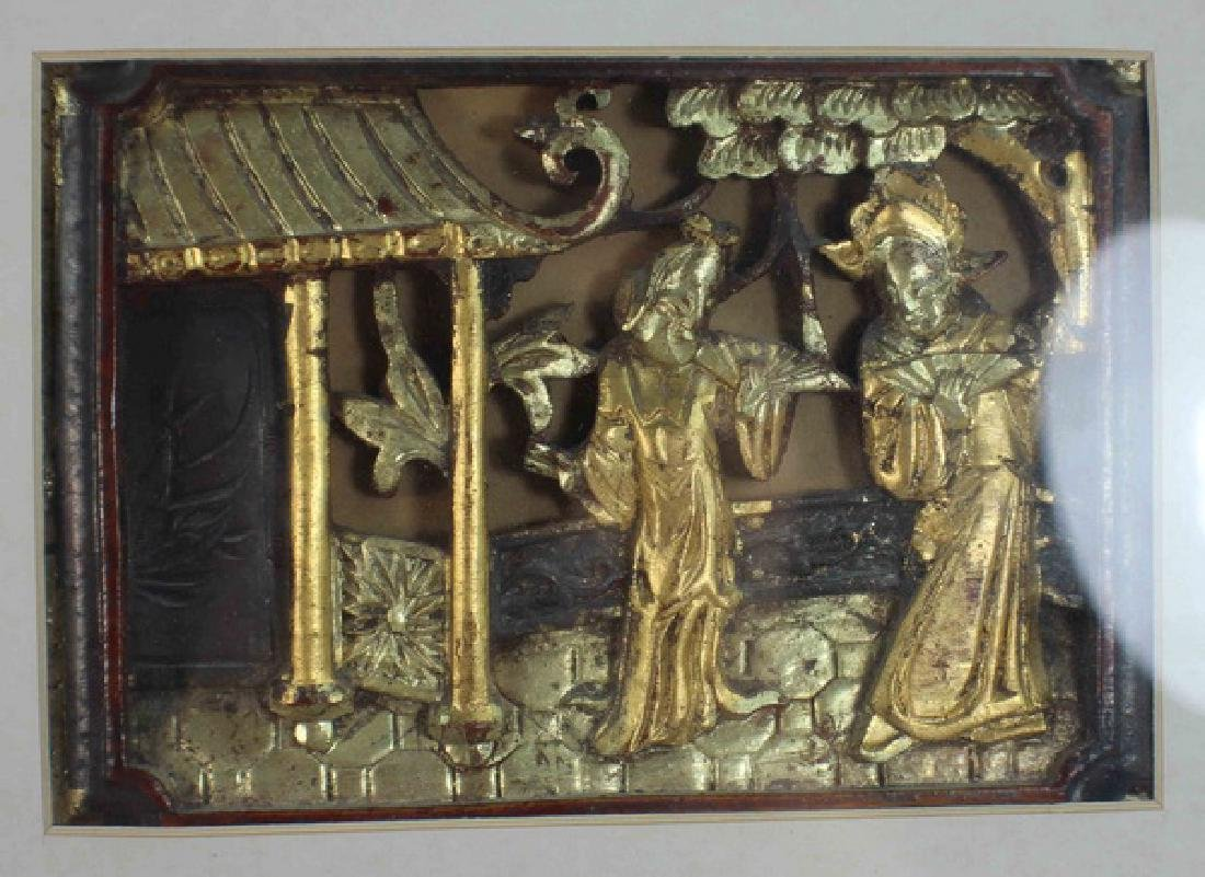 Lot Of 3 Chinese Carved Wood Hanging Screens w,Frame - 5