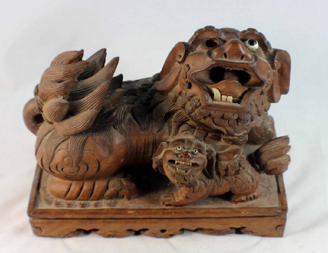 Chinese Carved Wood Foo Dog