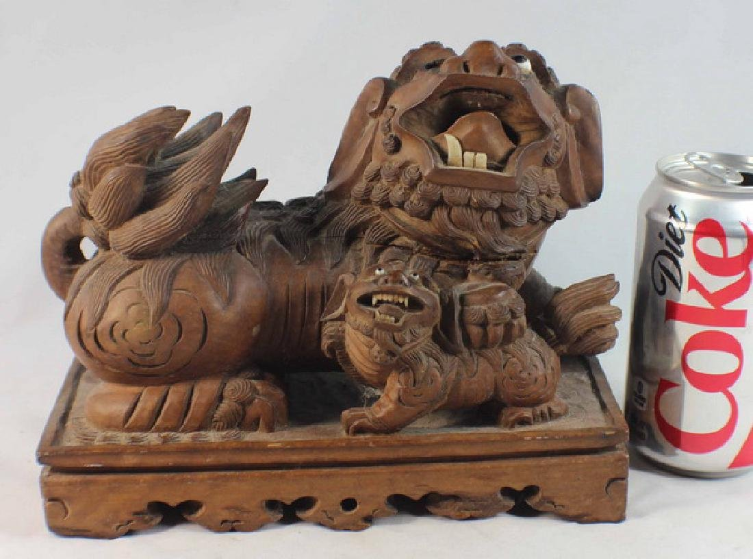 Chinese Carved Wood Foo Dog - 3