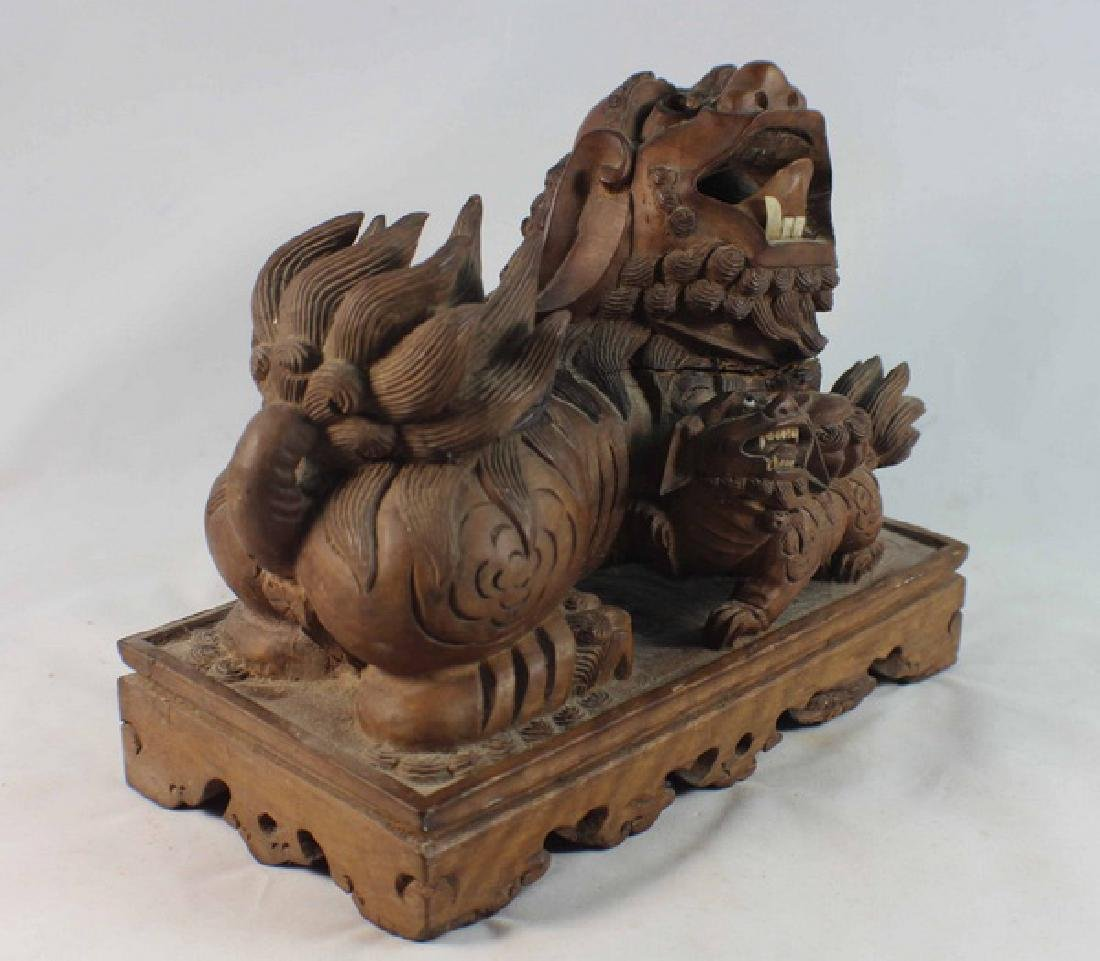 Chinese Carved Wood Foo Dog - 4