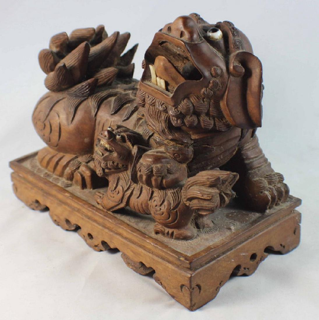 Chinese Carved Wood Foo Dog - 7