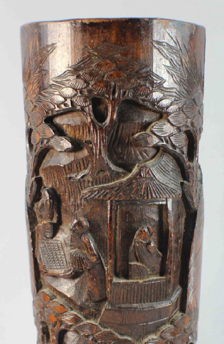 Chinese Carved Bamboo Brush Pot - 3