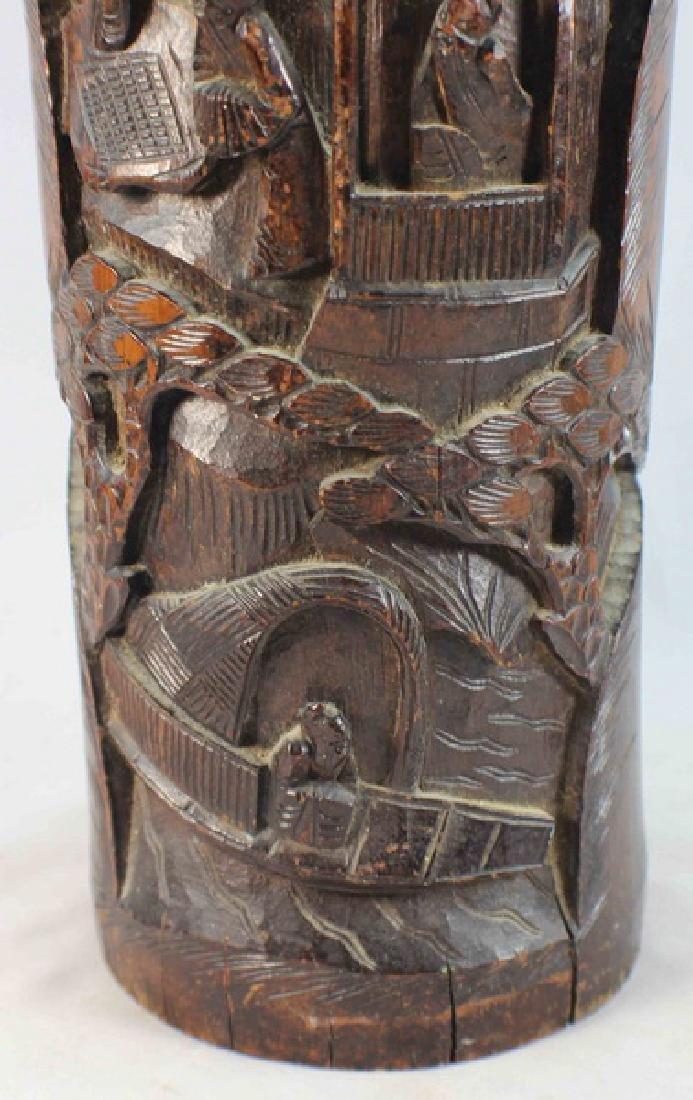 Chinese Carved Bamboo Brush Pot - 4