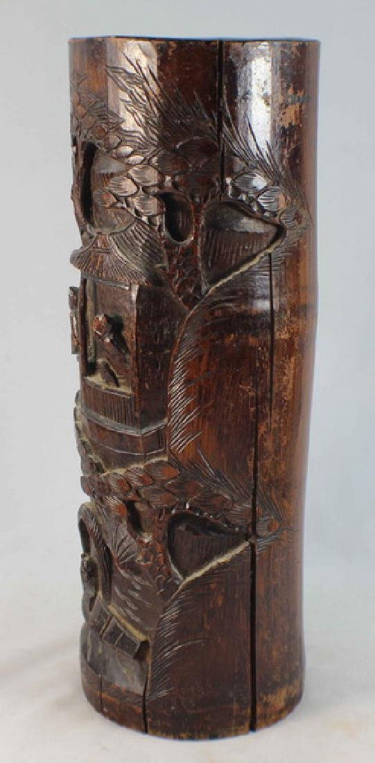 Chinese Carved Bamboo Brush Pot - 5