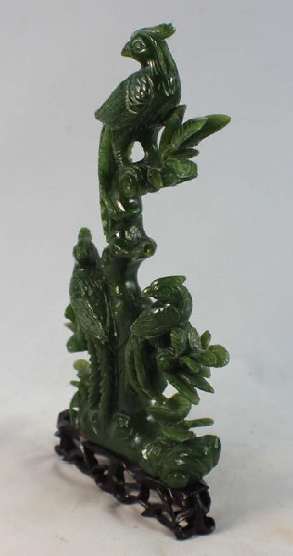 Chinese Carved Jade Statue Of Bird w,Wood Base - 3