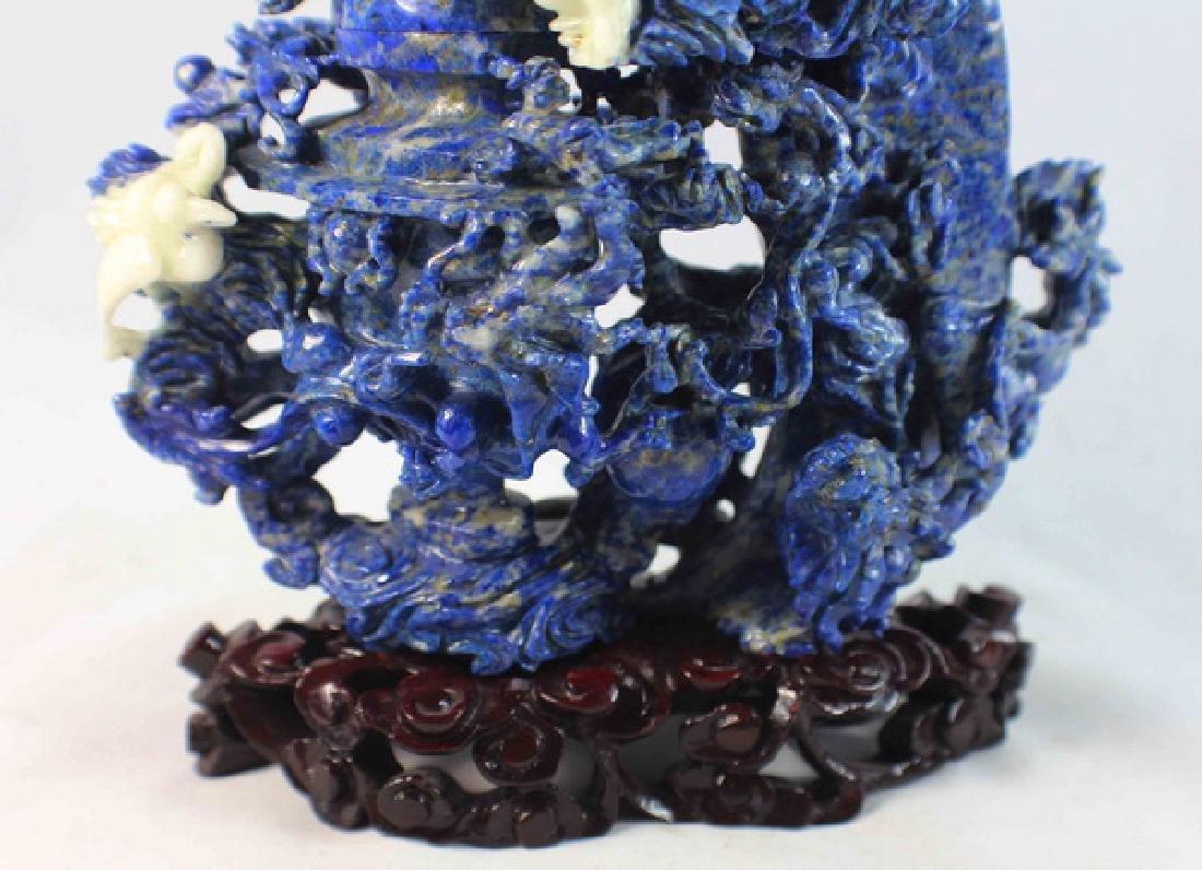 Chinese Carved Lapis Lazuli Statue w,Wood Base - 3