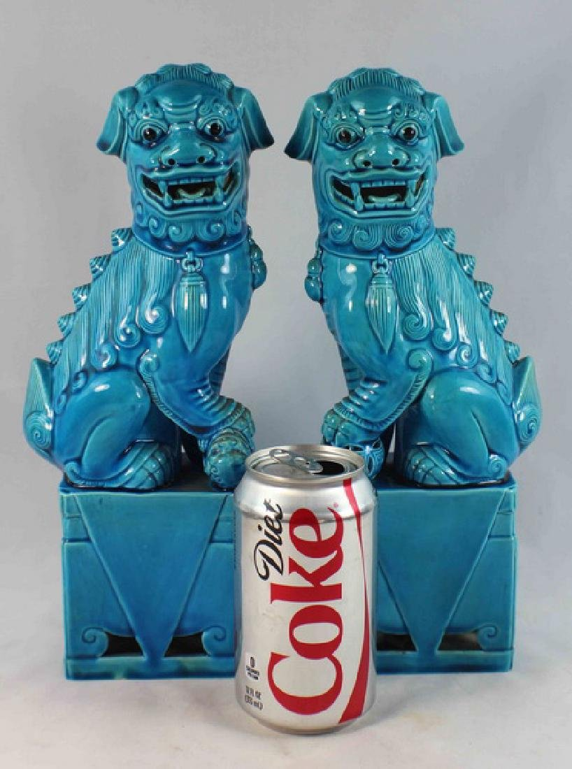 Pair Of Chinese Porcelain Foo Dogs - 2