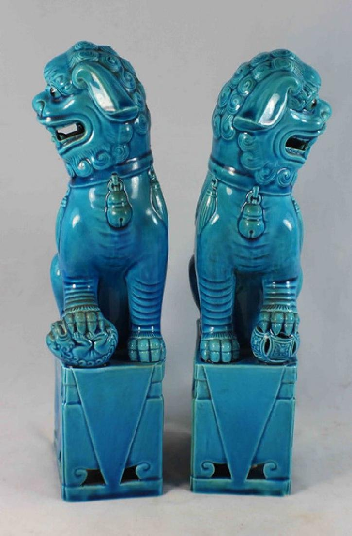 Pair Of Chinese Porcelain Foo Dogs - 4