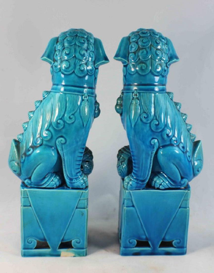Pair Of Chinese Porcelain Foo Dogs - 5