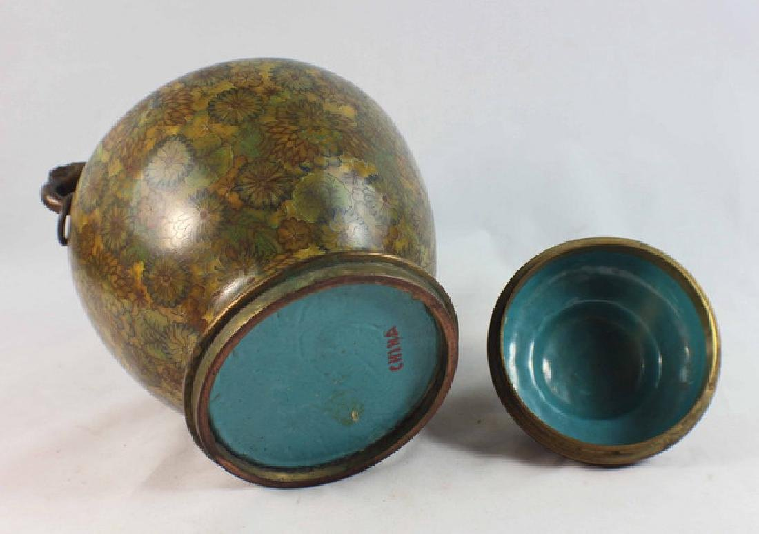 Chinese Cloisonne Enamel Tea Caddy - 7