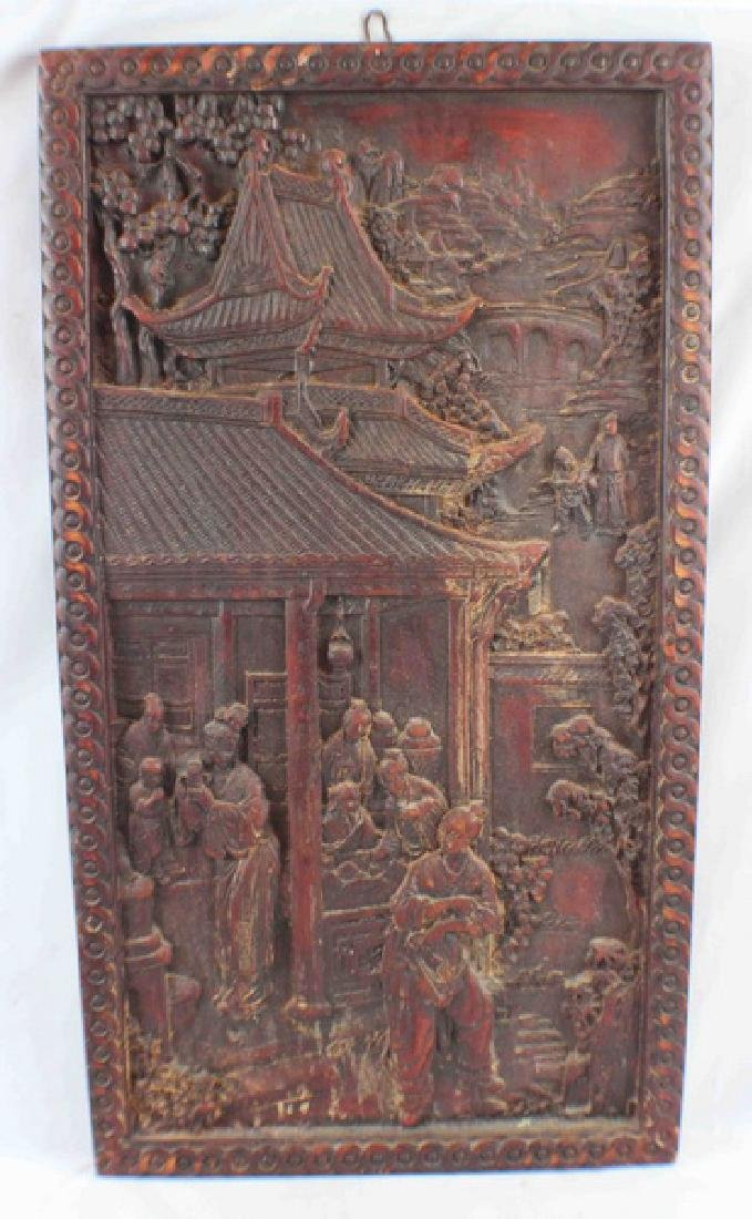 Antique Chinese Pottery Hanging Screen