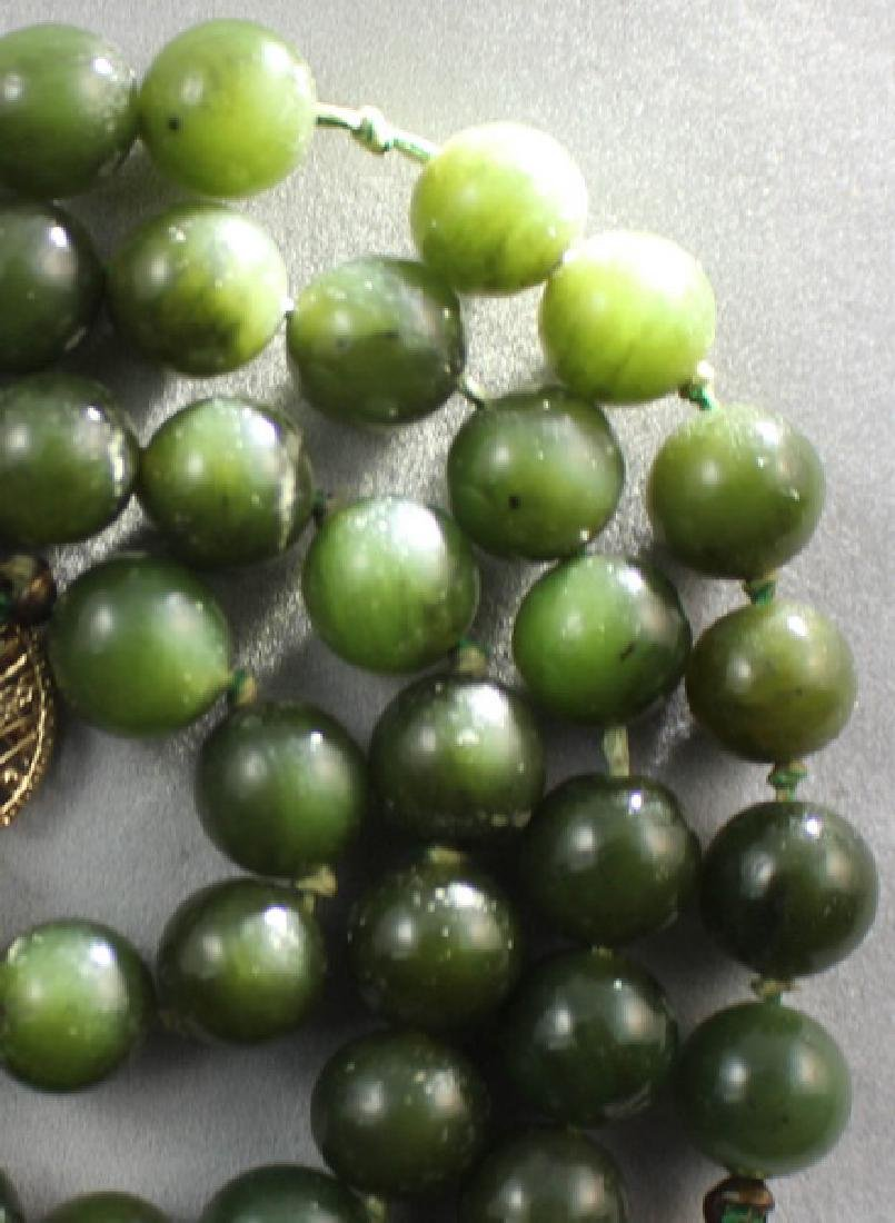 Chinese Carved Hetian Jade Beads Necklace - 3